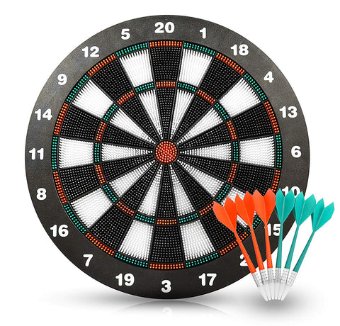 Piero Lorenzo Soft Tip Darts and Dart Board Set - 16 Inch Rubber Dart Board with 6 Soft Tip Darts Great Games for Kids - Leisure Sport for Office (set)