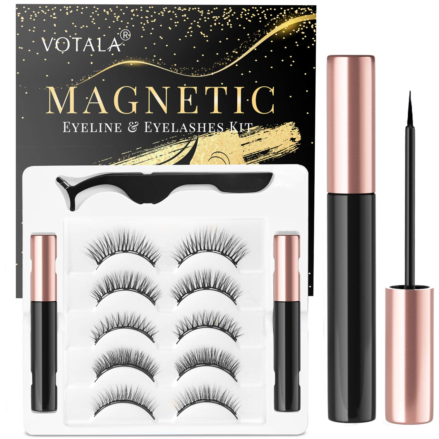 Votala Magnetic Eyelashes and Magnetic Eyeliner Kit, 5 Pairs of Different Styles Reusable 3D Magnetic Eyelashes with 2 Special Magnetic Eyeliners and Tweezers, with Natural Look(Natural)