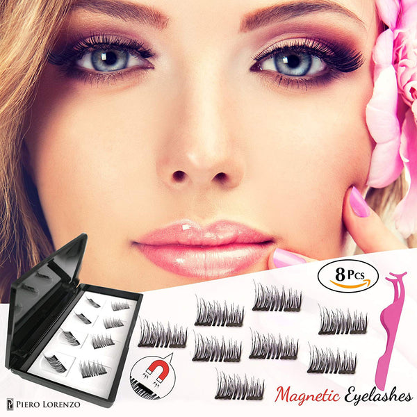 Newest Dual Magnetic False Eyelashes Fake Lashes with Free Tweezer - 3D Handmade Reusable and Easy to Apply Ultra Thin Magnets, Half-Lash, Natural Look, Glue Free (1 Pack 8 Pcs)
