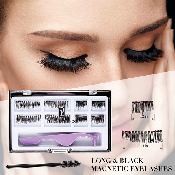 Dual Magnetic False Eyelashes Extension Set (8 pieces) - Full Size and Half Size Fake Lashes in One Set with Tweezers and Brush - Reusable and Easy to Apply Ultra Thin Magnets, Natural Look