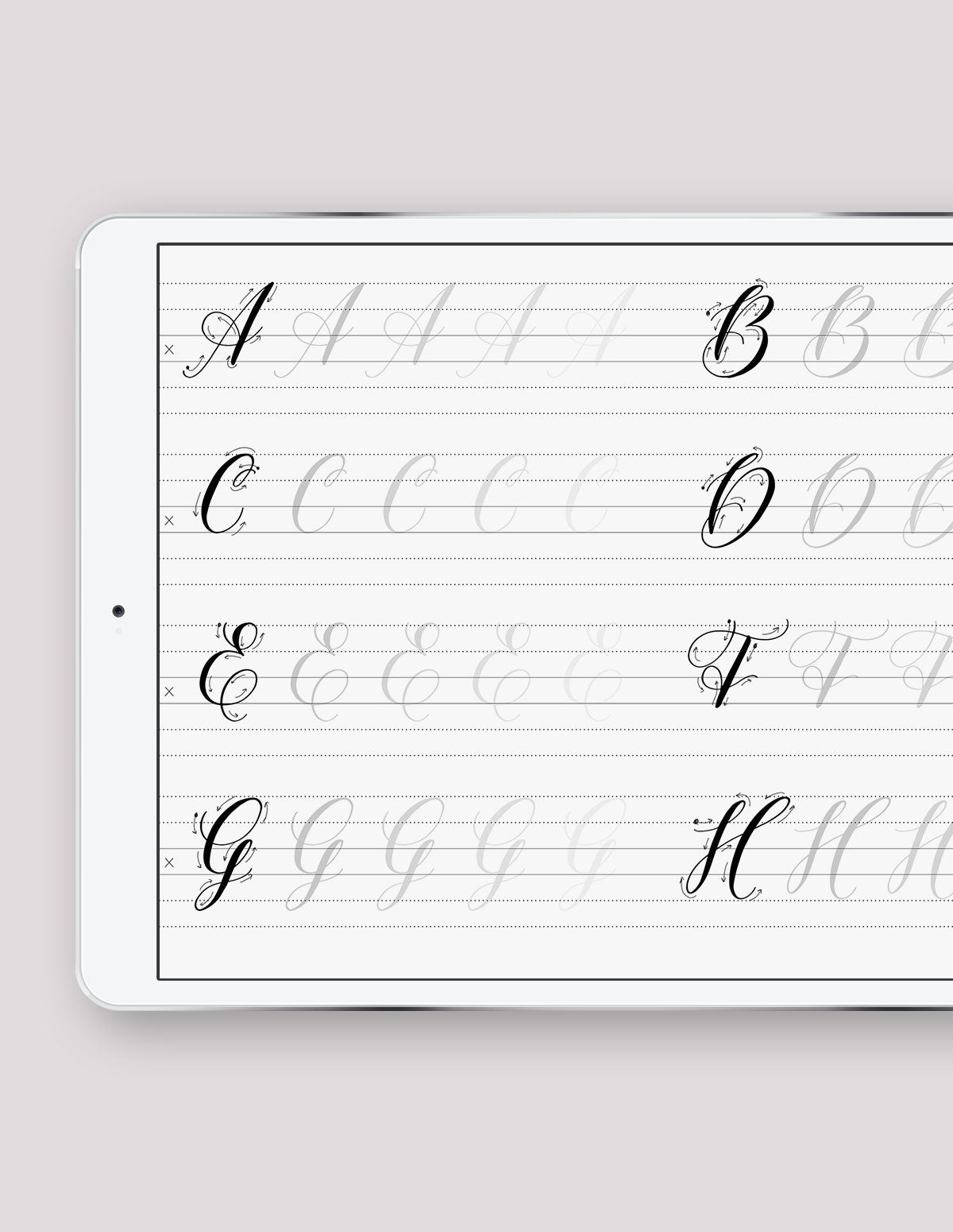Uppercase Calligraphy Practice Guides - ProCreate App