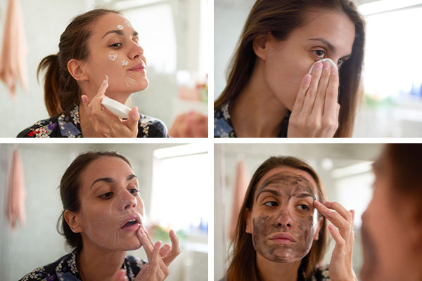 A woman applying a skincare product to her face over time