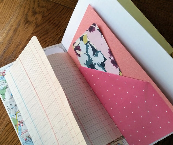 Junk journal tuck spot in pinks by Bespoke Bindery