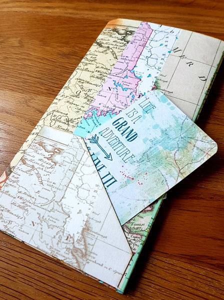 Midori Traveler Notebook TN dashboard folder insert in a Map Stripe print