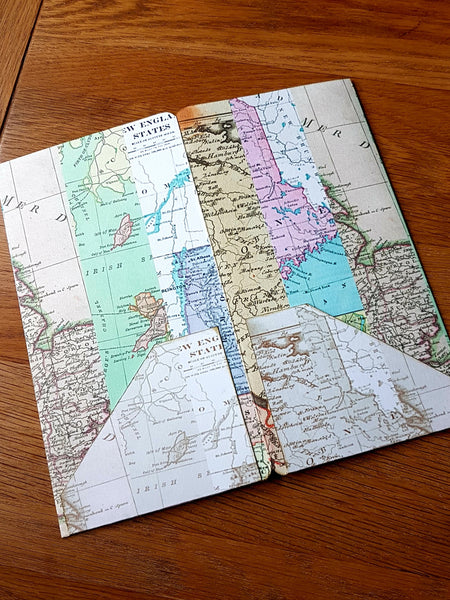 Rear view of 4 pocket Midori Traveler Notebook TN dashboard folder insert in a Map Stripe print