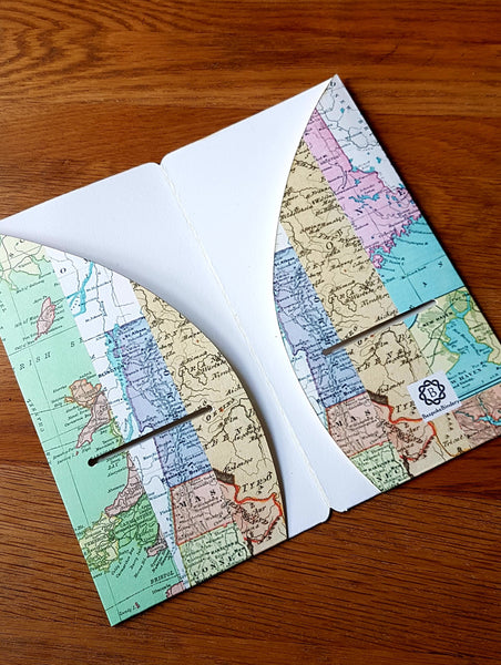 inside view of 4 pocket Midori Traveler Notebook TN dashboard folder insert in a Map Stripe print