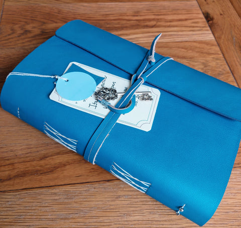 A5 Leather Travel Journal with wrap around cover in Bermuda Blue with key trim