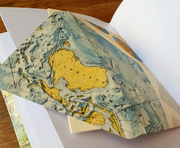 envelope pockets made from vintage map
