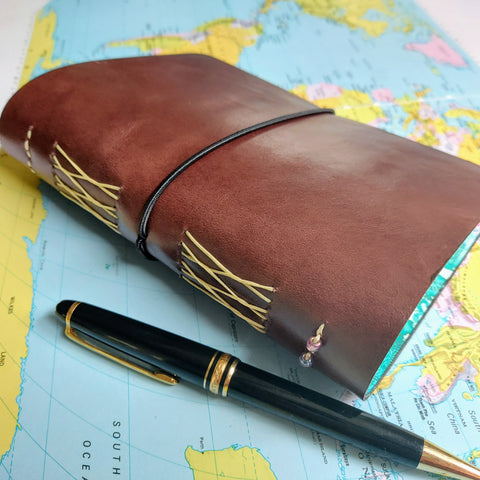 Travel Journal personalised leather cover with loop closure