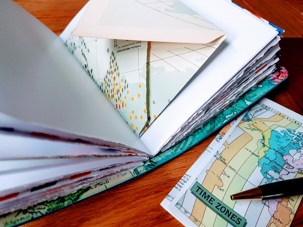 travel items in a handmade travel journal