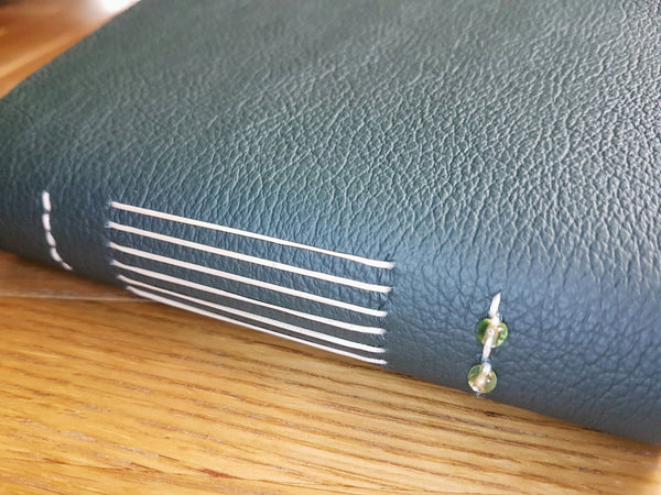 soft textured green leather book cover