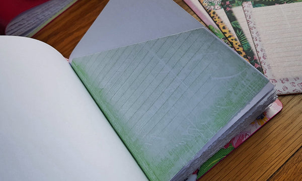Extra hidden tuck pockets inside the pages of an Hawaiin themed leather journal by Bspoke Bindery