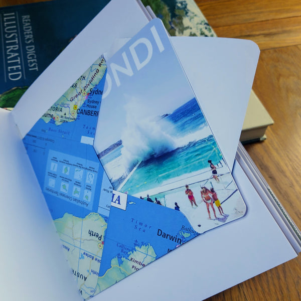 Bondi Beach postcard tucked into handmade envelope made from Australia map