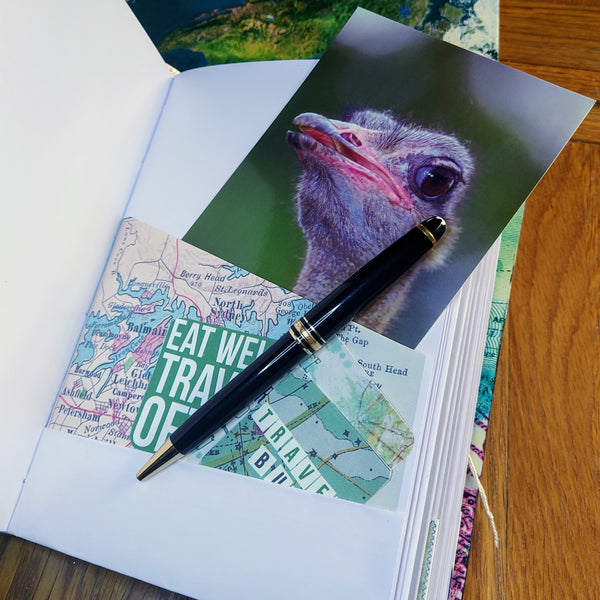 Ostritch postcard tucked into Australia map as a folded pocket.  Black pen for illustration