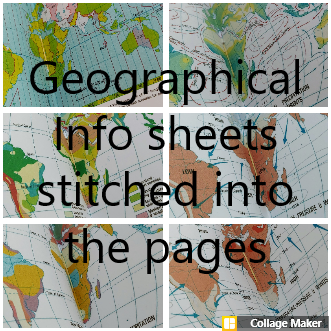 Collage of geographical atlas information sheets to be found inside bucket list travel journal