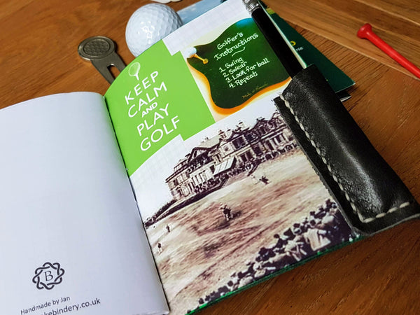 Men's golf score card log in darkest Green leather and back inside cover printed with vintage golf pictures showing handstitched leather pencil pocket