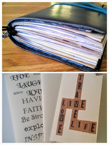 Junk Journal inserts inside a leather TN travelers notebook cover. Multi pack of 3 junk journals for maximum inspiration