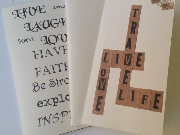 Junk Journal 3 pack with inspirational text, scrabble style text and blank