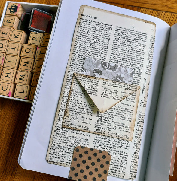 hand crafted junk journal pages using vintage dictionary page