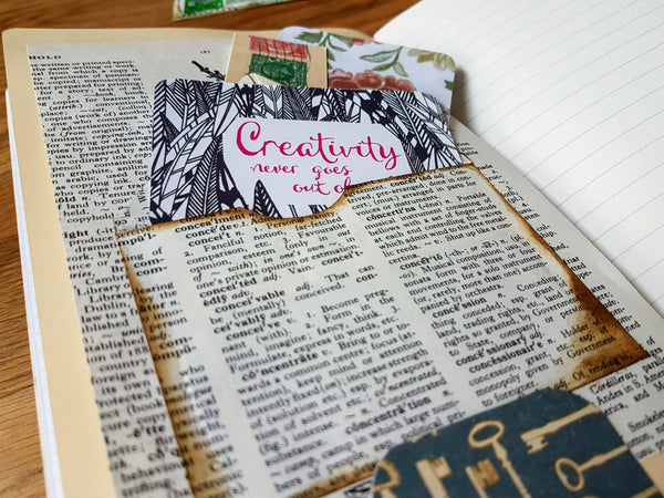 Junk Journal Spread with envelope made from vintage dictionary