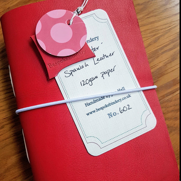 Signal Red Leather golf log journal with elastic fastener
