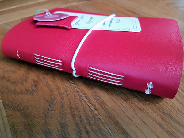 Red leather golfing journal, golf log, golfing gift for women