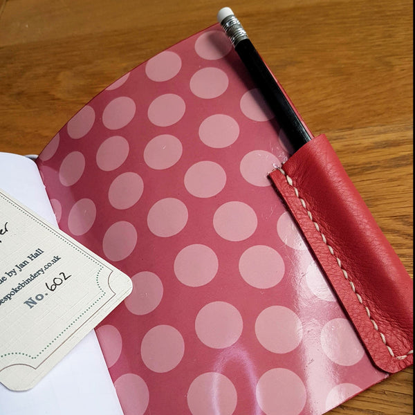 spotty lining of Red leather golfing journal, golf log, golfing gift for women