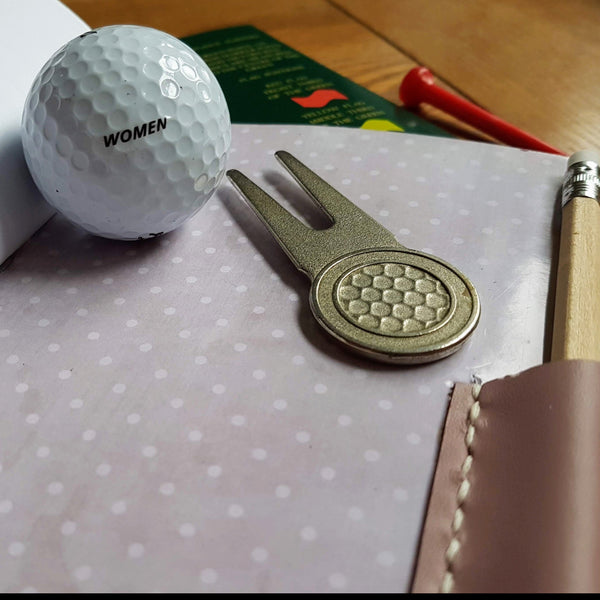 ladies leather pale lilac golf journal with polka dot interior lining and pencil pocket