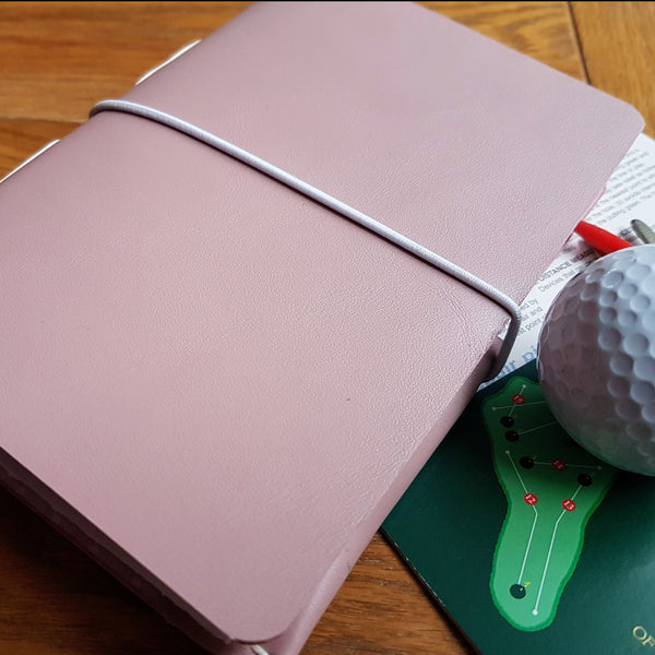 Ladies leather golf journal in pale lilac