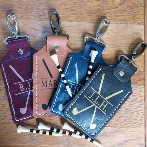 Customised leather clip-on golf tee holder and golf tees, fabulous personalised golfing gift