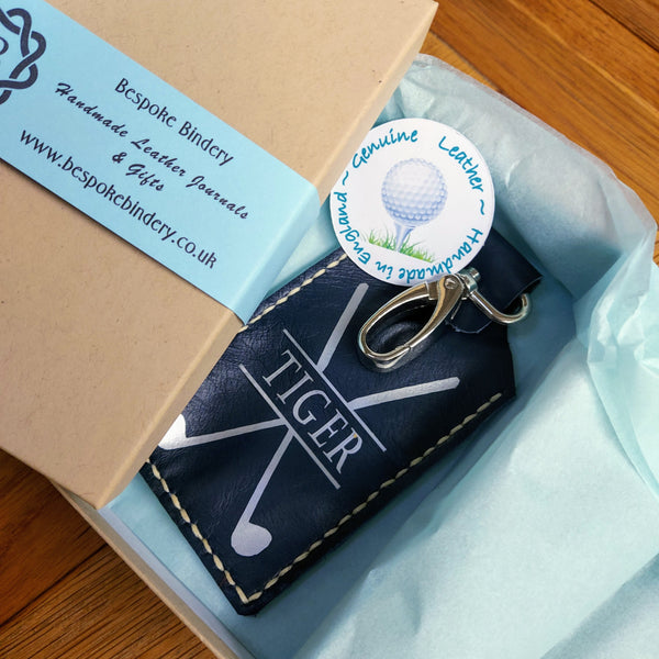 Leather golf tee holder tag ready gift boxed in blue tissue paper