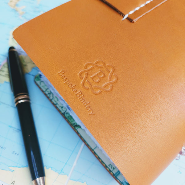 Leather travel journal notebook personalised - A6 pages - envelope pockets & journaling extras