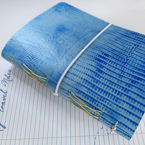 Crocodile texture blue travel journal with elastic loop closure