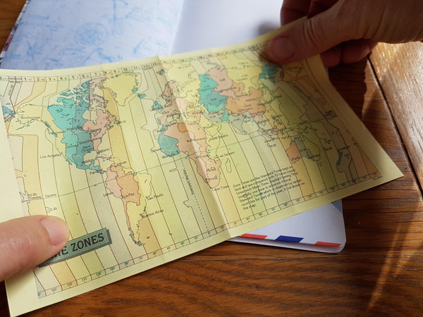 Travel Map Junk Journal with Time Zone pull out insert