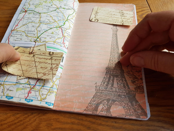 Eiffel Tower note paper in map travel junk journal by bespoke bindery in TN standard size