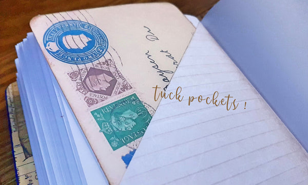 tuck pockets inside your memoire journal helps with extra journaling space or a place to tuck some special memory
