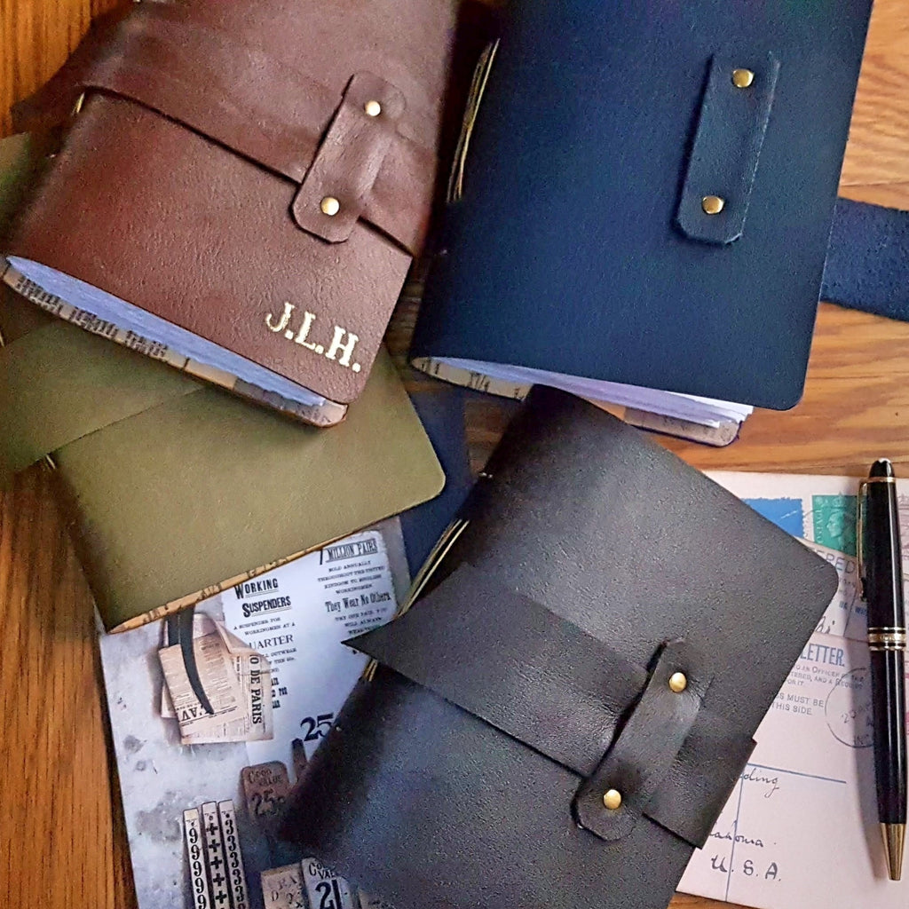 4 leather journal in light brown, dark brown, olive green and navy, personalised with initials