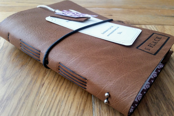 Men's golf score card log in brown with personalised cover