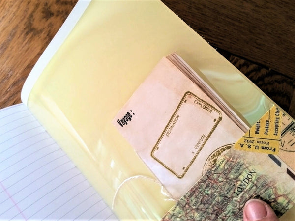 Free mini notebooks and journaling cards inside Bespoke Bindery's junk journals