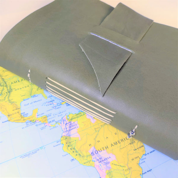 Leather Travel journal notebook , A6 Moss Green genuine aniline leather - envelope pockets & extras