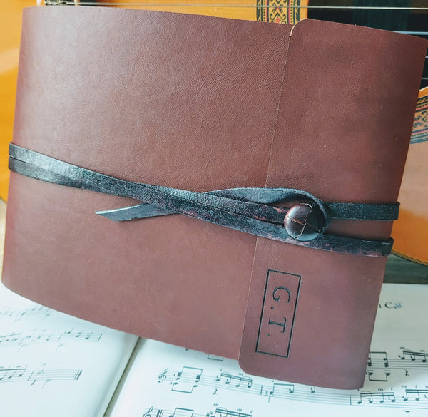 Leather music composition book for composer with personalised initials for gift and leather strap and button