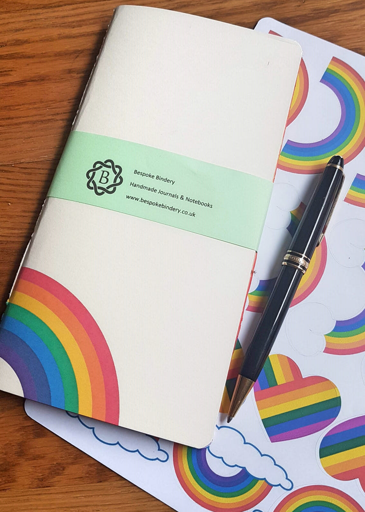 Rainbow paper TN Insert with rainbow image on front cover and free sheet of rainbow stickers