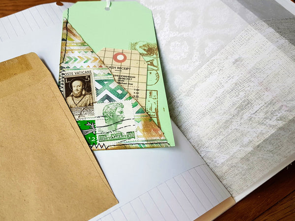 Beginner junk Journal.  Partly done with envelope pages, mixed paper and tags