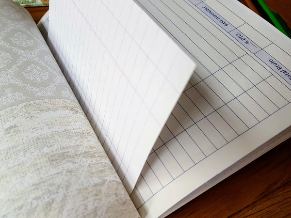 Mixed paper notebook known as a Junk Journal, invoice pages, decoupage and other mixed paper pages by Bespoke Bindery