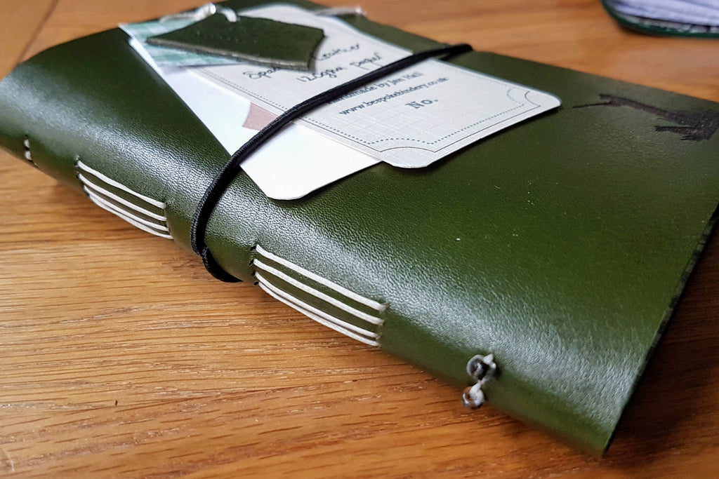 Hunting Shooting journal in glossy green spanish leather