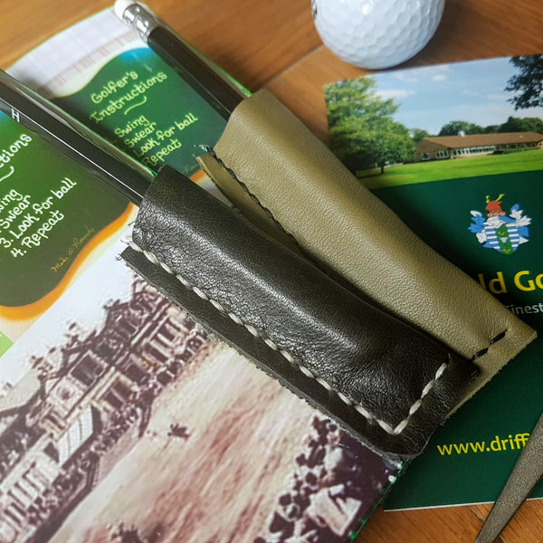 Personalised Leather Golf Journal,  Score tracker premium golf notebook with golfing images