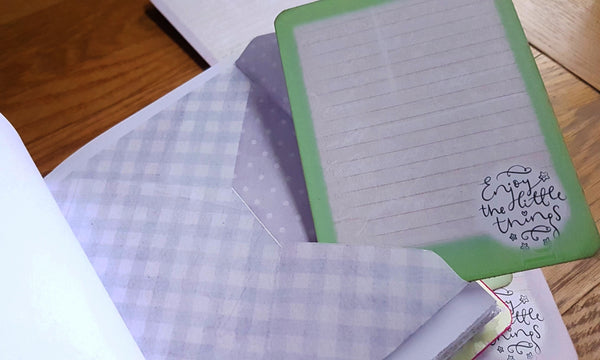 lilac checked envelope with lilac polka dot lining with green journal card
