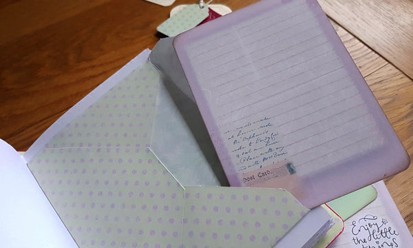 Pink and lilac envelope with lilac journaling card