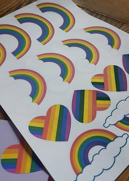 Rainbow sticker sheet to thank NHS and key workers during lockdown