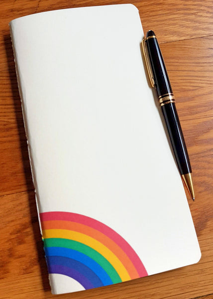 Bespoke Bindery Rainbow Traveler's Notebook Insert ivory front cover with rainbow logo